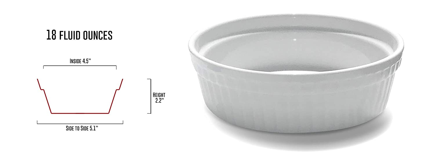 White Porcelain 6 Piece Ramekin Set 18oz Dishwasher Microwave And Oven Safe  Best Air Fryer