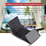 Richer-R Wireless Foldable Keyboard, Tri-folding Bluetooth Wireless Keyboard Mini Portable Touchpad, Rechargeable and Long Standby for IOS/Android/Windows(Silver)