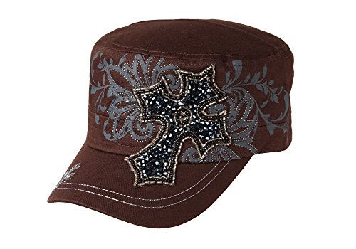 Spirit Caps Women's Stone Cross Adjustable Cadet Cap One Size Brown