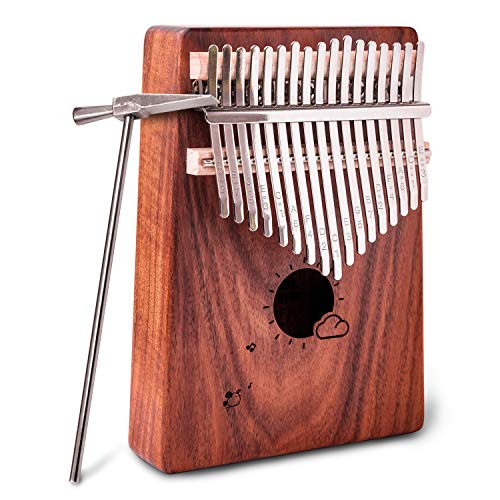 Kalimba Thumb Piano 17 Keys EVA Finger Piano Musical Instrument With Study Instruction Tuning Hammer Perfect Gifts For Kids Beginner Adult Brown ()