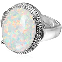 Size 6/7/8/9 Chunky Big Oval White Fire Opal Wedding Ring Silver Plated Jewelry (8)