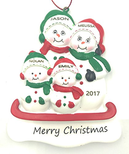 Personalized Snowman Family of 4 Christmas Engraved (Personalized Snowman)
