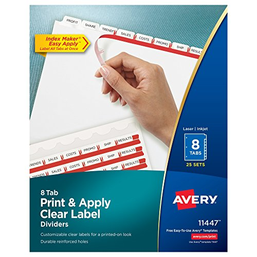 Avery Print & Apply Clear Label Dividers, Index Maker Easy Apply Printable Label Strip, 8 White Tabs, 25 Sets, Case Pack of 6 (Avery Reinforced Labels)