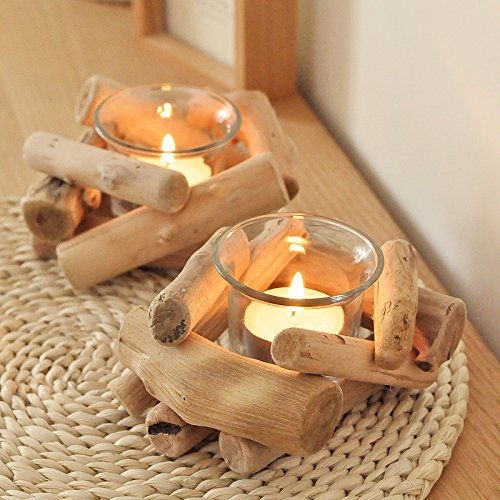 RISEON Handmade Rustic Wooden Votive Tealight Candle Holders, Natural Driftwood Candle Holders Stands, Succulent Planter Centerpiece for Wedding, Party, Birthday, Holiday Decoration (1 Hole)