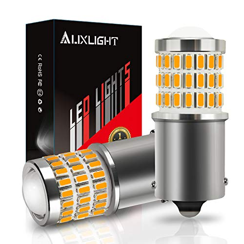 AUXLIGHT 1156 BA15S 1003 1141 7506 1156A LED Bulbs Amber Yellow, Ultra Bright 57-SMD LED Replacement for Blinker Lights, Turn Signal/Parking or Running Lights, Brake/Tail Lights (Pack of 2)