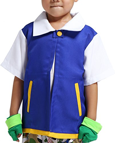 Anime Trainer Costume Hoodie Jacket Shirt Gloves Hat Ash Ketchum Cosplay (Ash Ketchum Costume Shirt)