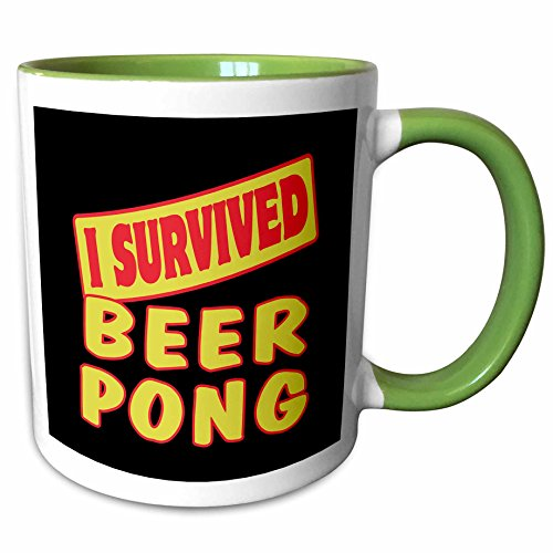 Beer Pong Sayings - 3dRose Dooni Designs Survive Sayings - I Survived Beer Pong Survial Pride And Humor Design - 11oz Two-Tone Green Mug (mug_117771_7)