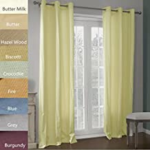 Chadmade Heavy Thick Triple-pass Thermal Coating Back Layer Insulated Blackout Grommet Curtain Panel (1 Panel) 50Wx102L Inch Butter Milk