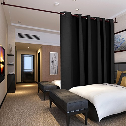 Deconovo Privacy Room Divider Curtain Thermal Insulated Blackout Curtains Screen Partition Room Darkening Panel for Shared Bedroom, 10ft Wide x 8ft Tall 1 Panel - Screen Panel Black