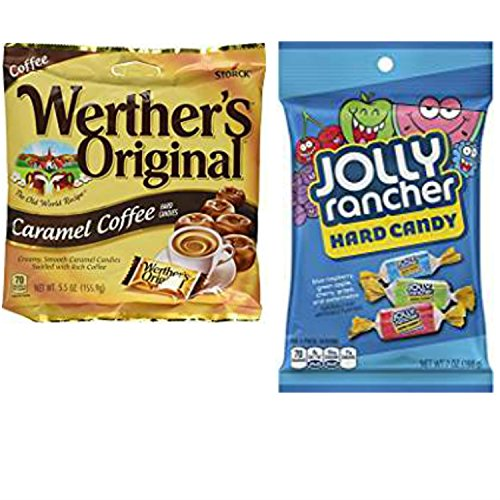 Jolly Rancher Hard Candy Bag and Werthers Original Coffee; Easy Shopping For 2 Popular Candy Alternatives. THE Choice for Office, Home or Dorm. Vegetarian Friendly and Terrific Stocking (Fun Punch Recipes For Halloween)