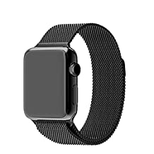 Lebuy Smart Watch Band,Stainless Steel Replacement Watch Band for Iwatch,Double Magnetic Closure Clasp for Aple Watch 42mm(Black)