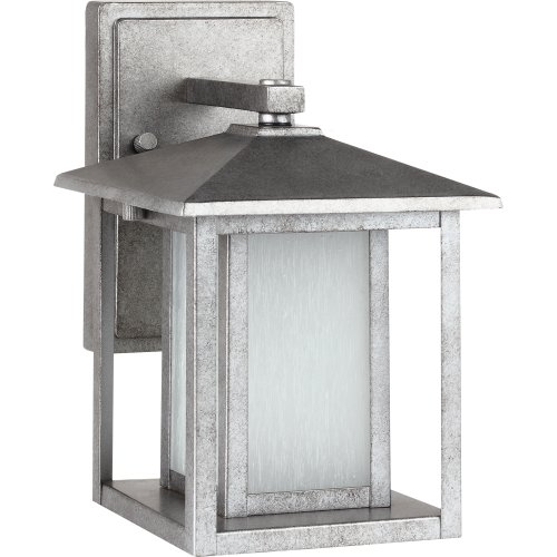 Sea Gull Lighting 89029BLE-57 Outdoor Sconce with Seeded Etched Glass Shades, Weathered Pewter Finish - Weathered Pewter Finish