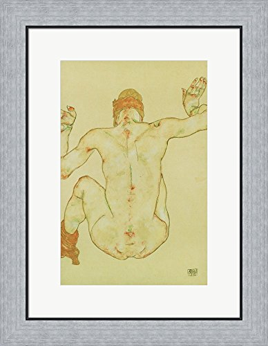 Seated Female Nude, Back View, 1915 by Egon Schiele Framed Art Print Wall Picture, Flat Silver Frame, 19 x 24 inches