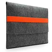 "Lavievert Handmade Gray Felt Case Bag Sleeve with Orange Elastic Band for Apple 13"" MacBook Air / 13"" MacBook Pro / 13"" MacBook Pro with Retina"