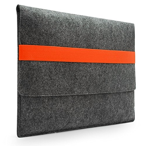 Lavievert Handmade Gray Felt Case Bag Sleeve with Orange Elastic Band for Apple 15 MacBook Pro / 15 MacBook Pro with Retina and Most Popular 15-15.6…