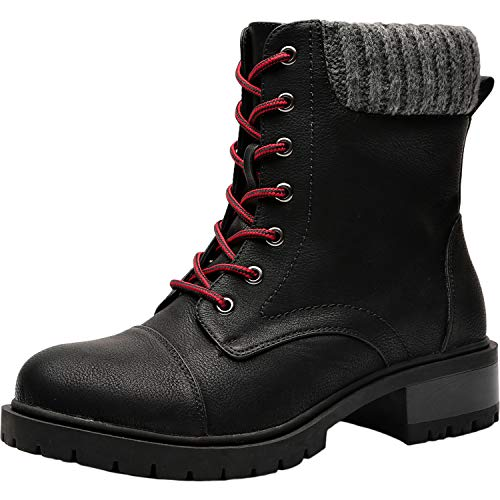 (Women's Wide Width Mid Calf Boots - Mid Low Heel Sweater Cuff Lace Up Ankle Combat Boots.(180612,Black,11.5WW))