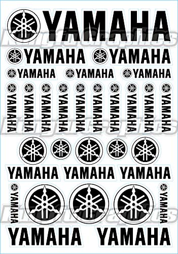 (Kungfu Graphics YAMAHA Sponsor Logo Racing Sticker Sheet Universal (7.2 x 10.2 inch),Black)