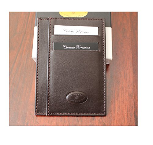(Cuoieria Fiorentina Slim Sleeve Dark Brown Wallet Premium Calf Leather Made in Italy - Holds 10+Cards +Cash - Slim Profile Reduces Wallet Bulk )