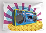 Ambesonne 70s Party Decorations Pillow Sham, Retro Boom Box in Pop Art Manner Dance Music Colorful Composition, Decorative Standard Queen Size Printed Pillowcase, 30 X 20 inches, Multicolor