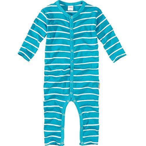 wellyou, Schlafanzug, Pyjama  Jungen und Maedchen, Einteiler langarm, Baby Kinder, tuerkis weiss gestreift, geringelt, Feinripp 100% Baumwolle, Gr 92-98
