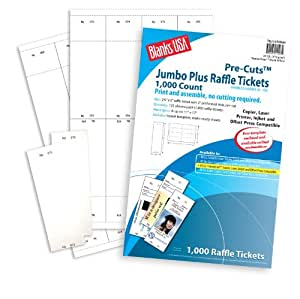 jumbo plus raffle tickets pre cut 65 lb cover uncoated white 11 x 17 125 sheets. Black Bedroom Furniture Sets. Home Design Ideas
