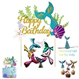 Mermaid Party Supplies-Mermaid Happy Birthday Cake Topper,Reusable Sequin Reversible Mermaid Cake Decoration and Glitter Mermaid Birthday Hats,Great for Baby Shower and Birthday Party Decorations (9Pcs)