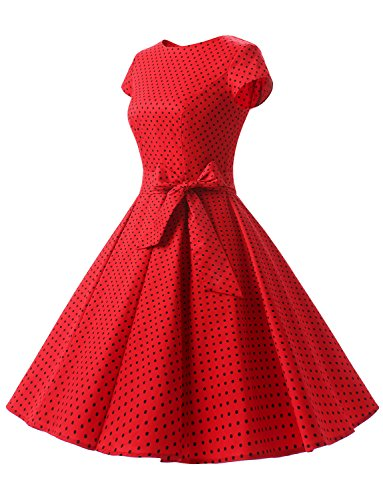 Women A 60s Red cocktail Vintage da Abiti Black 50s Manica Dot Elegant Rockabilly Dressystar corta Short ZYPqTxf