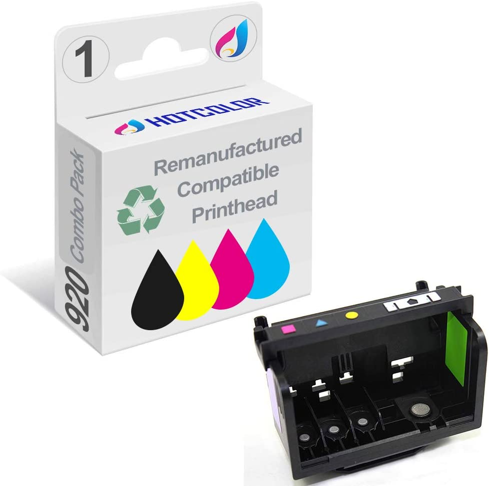 HOTCOLOR 920 Printhead for HP Officejet 6000 6500A 6500 7000 7500 7500A E709 E710 Printer All-in-one 1 Pack (4-Slot Black Cyan Magenta Yellow)