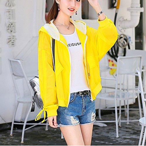 QFFL fangshaifu ファッションショートバットスリーブサンプロテクションウェア/女性夏薄いルースジャケット/クリエイティブ快適な通気性サンスクリーンカーディガン(4色使用可能) (色 : イエロー いえろ゜, サイズ さいず : M)