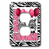 3dRose lsp_173046_6 Twins Girls Zebra Print Baby Shower Jungle Theme In Pink - 2 Plug Outlet Cover