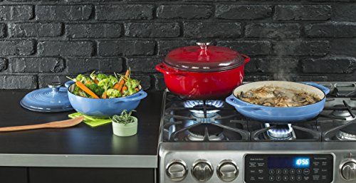 Lodge EC4D43 Enameled Cast Iron Dutch Oven, 4.6-Quart, Island Spice Red