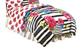 Just For Kids Floral/Stripe Pink/Yellow/Blue/Black Twin/Full 72'' x 86'' Reversible Comforter