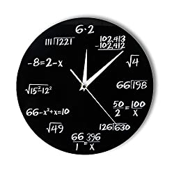 xushihanjjli Wall Clocks Engineering Numbers Math Math Equation Decorative Pop Quiz Wall Art Science Gift for Math Geeks and Teachers 12 Lnch Can Well Decorate Home Office Coffee Bar Hotel Restaurant