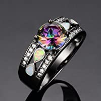 A.TATOON Infinity Mystic Round Rainbow Topaz Fire Opal Ring Black Gold Jewelry (8)