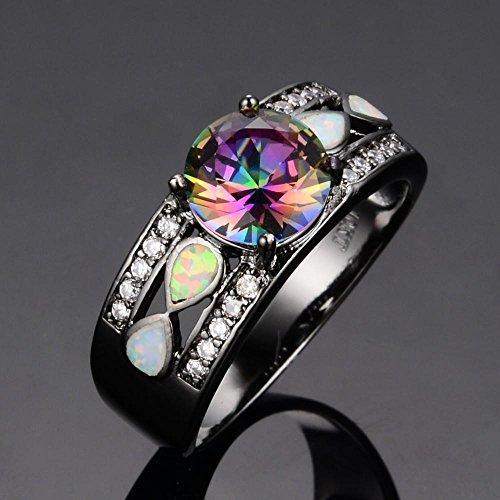 A.TATOON Infinity Mystic Round Rainbow Topaz Fire Opal Ring Black Gold Jewelry - Platinum Mystic Topaz