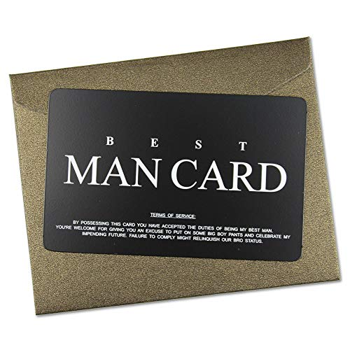 eel Funny Junior Best Man Proposal Gifts Cards, The Black MAN CARD Wedding Invitations with Gold Envelopes, Rustic Bridal Party Favors Invites Card - Will You Be My Best Man? ()