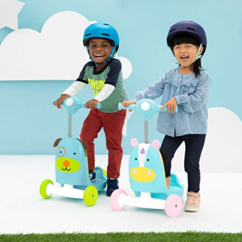 51dNKGpvxjL - Skip Hop Kids 3-in-1 Ride On Scooter and Wagon Toy, Unicorn