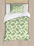 Ambesonne Palm Leaf Duvet Cover Set Twin Size, Exotic Pattern with Tropical Leaves in Watercolor Art Style Jungle Luau Hawaii, Decorative 2 Piece Bedding Set with 1 Pillow Sham, Fern Green