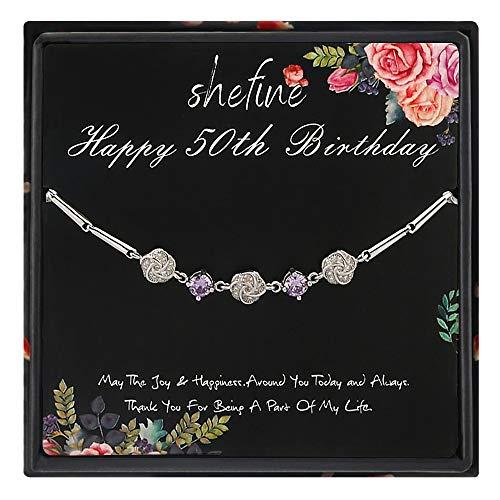 shefine 50th Birthday Gifts for Women, 925 Sterling Silver Bracelet - 1969 Birthday Gifts for Women, 50 Years Old Birthday Gifts for Women (Amethyst Roses)
