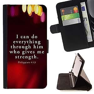 Momo Phone Case / Flip Funda de Cuero Case Cover - BIBLIA Filipenses 4:13 Todo lo puedo; - Sony Xperia M2