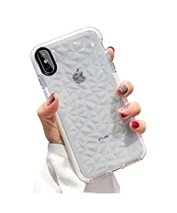 SUBESKING Compatible for iPhone Xs Max Case,Cute Crystal Clear Slim Fit 3D Diamond Pattern Soft TPU Anti-Scratch Shockproof Protective Phone Cover Cases for Women Girls(White)