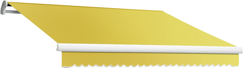 Awntech 14-Feet Maui-LX Manual Retractable Acrylic Awning, 120-Inch Projection, Light Yellow White