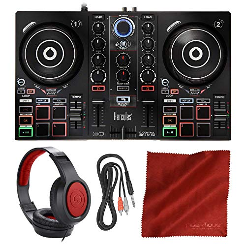 Hercules DJControl Inpulse 200 Compact DJ Controller + Headphone + Basic Accessory Bundle (Best Beginner Dj Headphones)