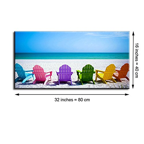 """Beach Theme Decor for Living Room, PIY Blue Sea with Colorful Chairs Picture Wall Art, Relax Leisure Time Canvas Prints Home Decorations (1"""" Thick Frame, Waterproof, Bracket Mounted Ready Hanging)"""