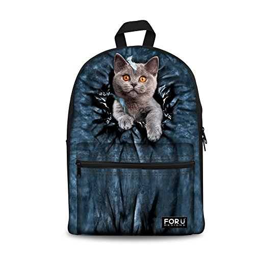 - FOR U DESIGNS Cute Cat Animal Print Creative Canvas Bookbag for Kids Back to School