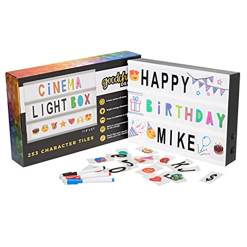 Cinema Light Box Marquee with 253 Character Tiles, Storage Box, Colored Markers and 8-Hour Power Timer - DIY Cinematic LED Lightbox for Home Decor or Business - USB or Battery Powered - A4 Size