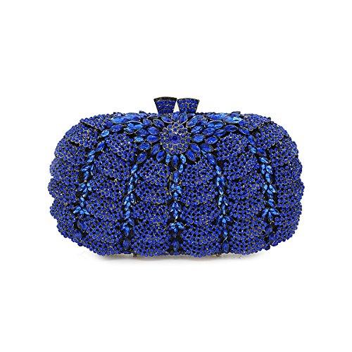 pour Flada de strass les sacs AB femmes d'embrayage Blue mariage la à Bleu luxe fête pour sac de main soir 7rp71