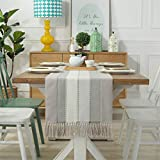 PHNAM Table Runner with Tassels 72 Inches Long Linen Cotton Coffee Dining Table Cloth Runners Non Slip for Home Kitchen Party Wedding Decorations, Machine Washable (Stripe Beige, 15 x 72 Inches)