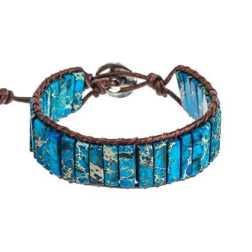 IUNIQUEEN Leather Chakra Handmade Imperial Jasper Wrap Adjustable Bead Bracelet (Dark Blue)