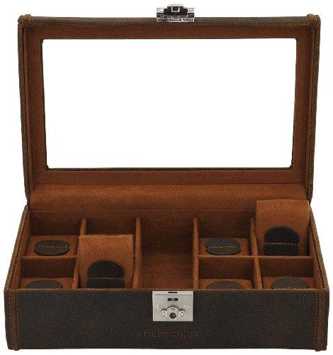 Friedrich|23 Uhrenkasten Cubano Leder braun für 8 Uhren 29 x 19 x 9 5 cm 27022-3